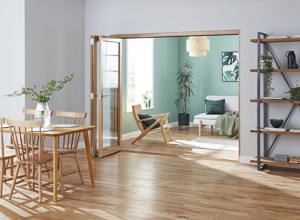 Fully open - Finesse Oak 2.1m (approx 7ft) Internal Bifold Doors - with bottom track