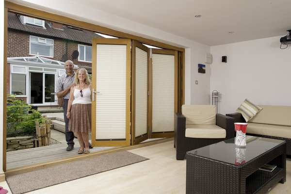 Inside part open 12ft Prestige bifold doors for cinema room