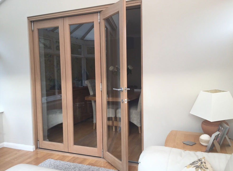 Access door open on a Finesse 1.8M Internal bifold door set