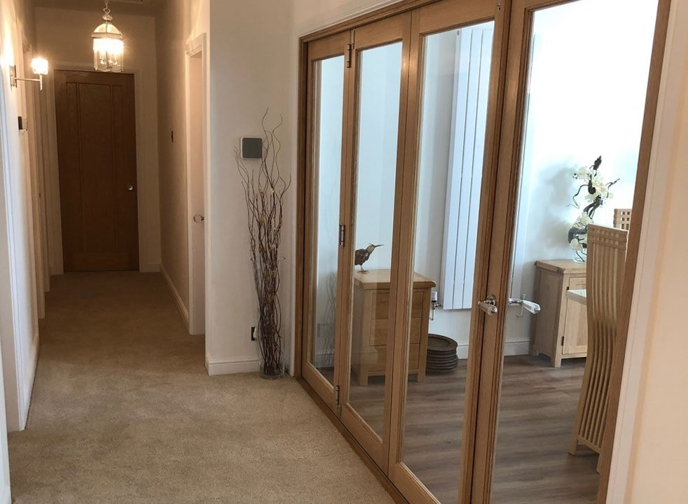 Closed Side view of a set of Finesse 3M Internal bifold doors