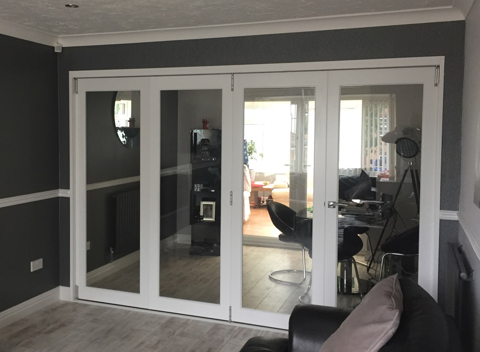 Closed view from the lounge - Finesse white 3M internal bifold doors