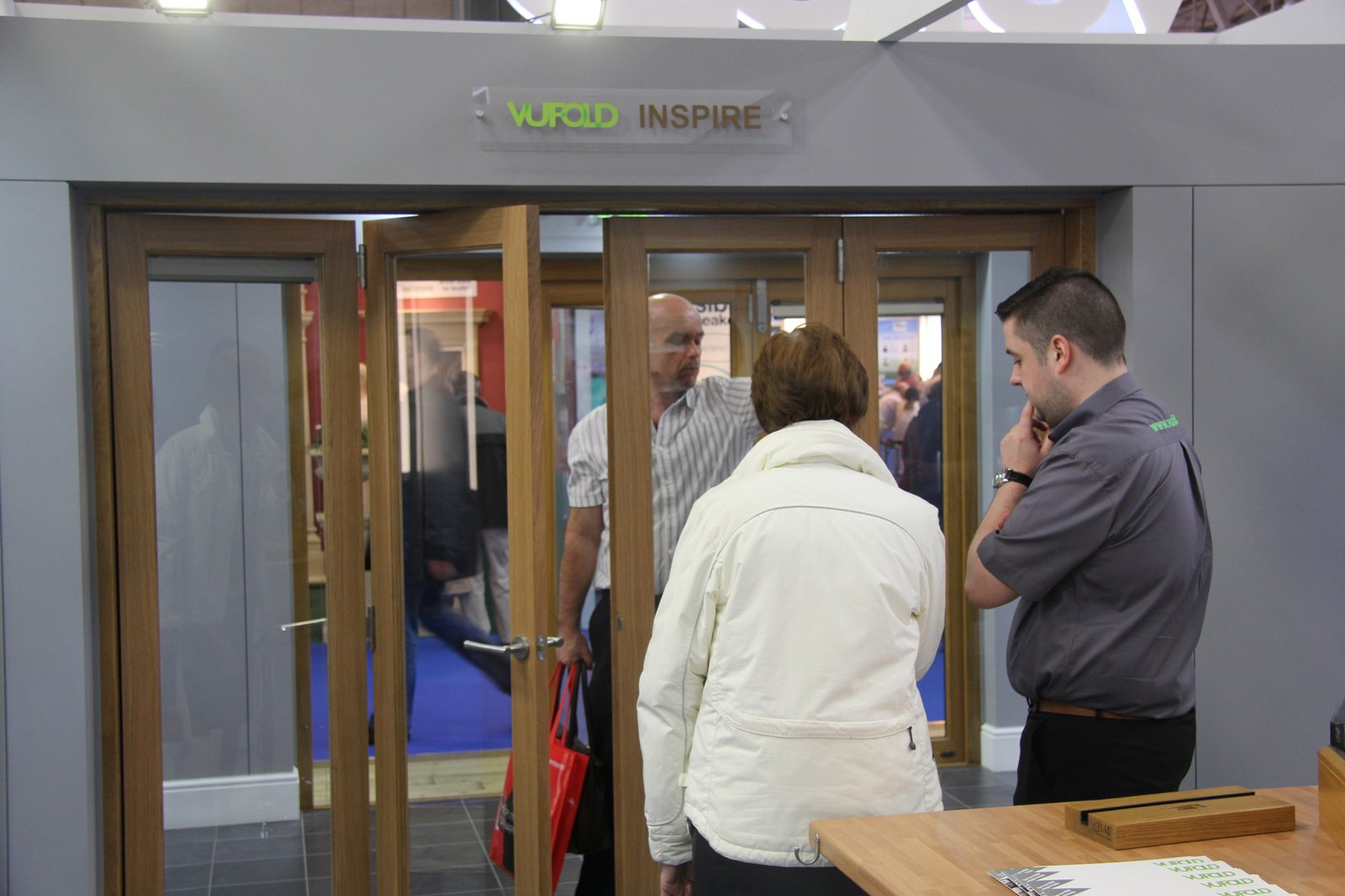 David answering questions about the Inspire Internal Folding doors