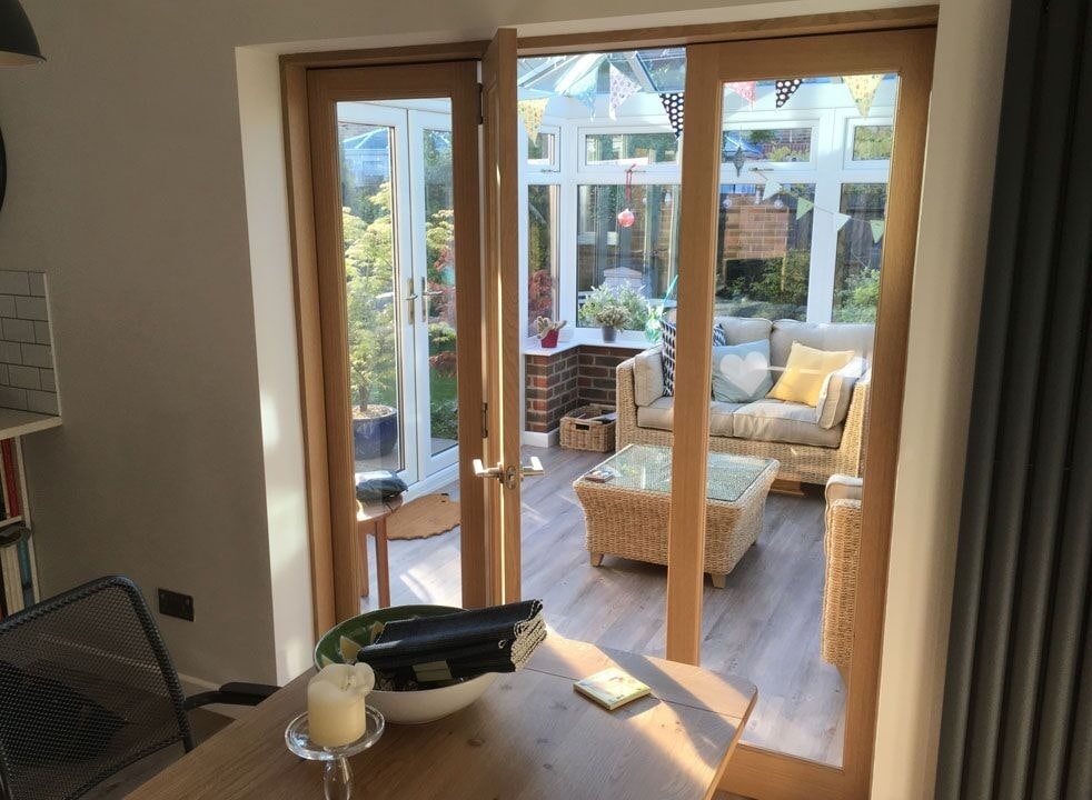 Centre open from the dining room - Inspire 1.8M internal bifold doors