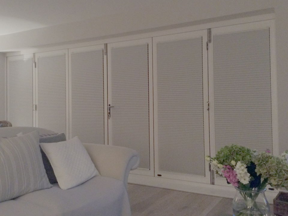 Closed inside view Master Timber 4.8M Bifold Doors with Blinds