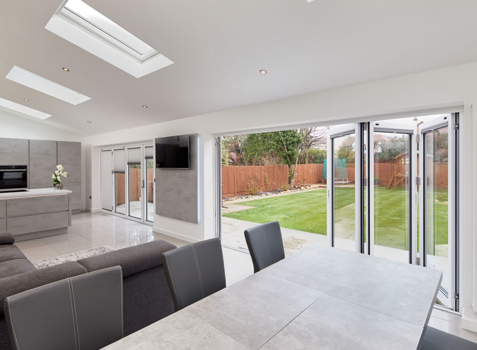 Inside view - Supreme 3.6M White Aluminium bifold doors