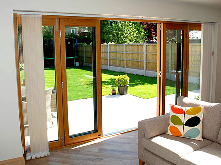Inside, open view of an Ultra 4.2M External Bifold door