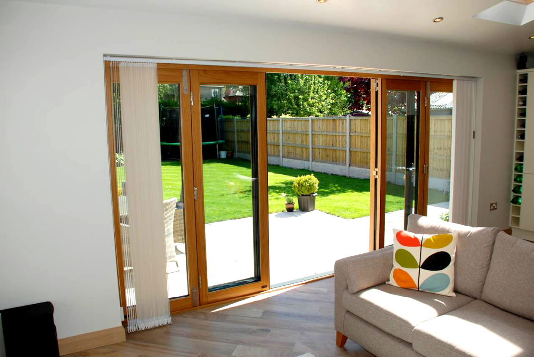 Inside, open view of an Ultra 14ft External Bifold door