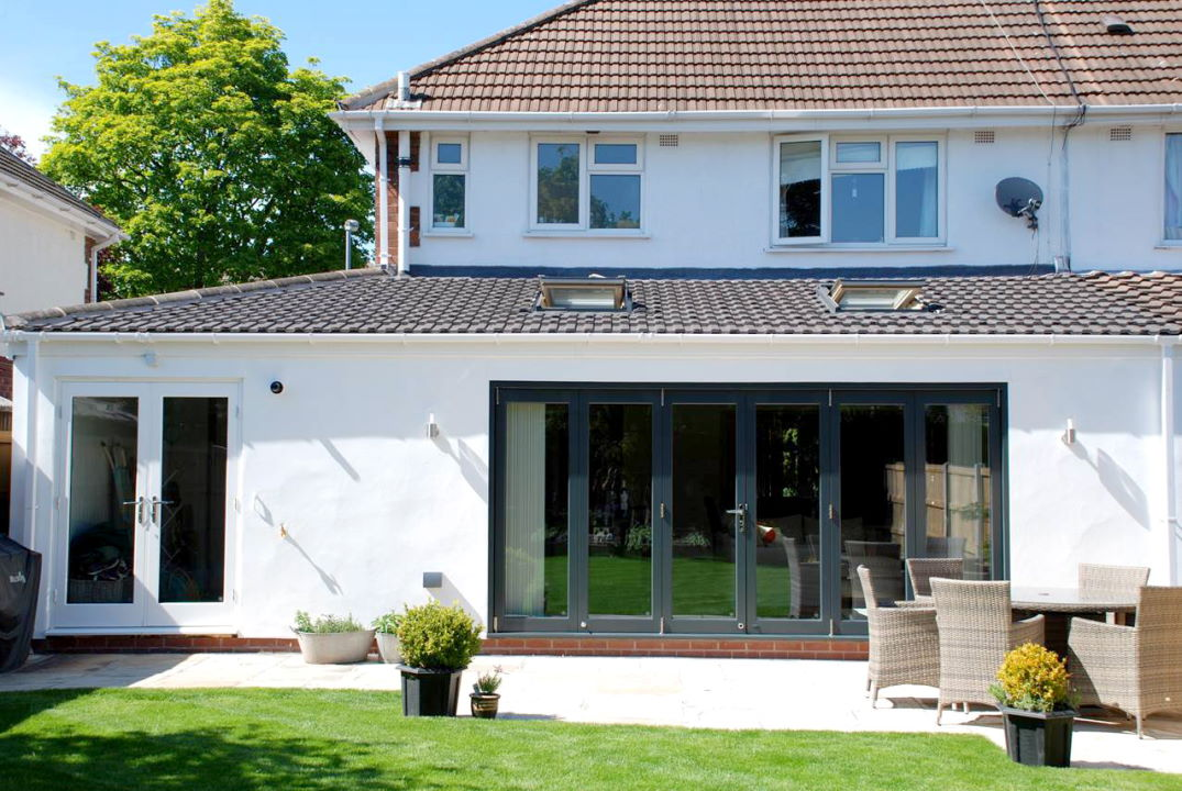 Outside, closed view of an Ultra 14ft External Bifold door