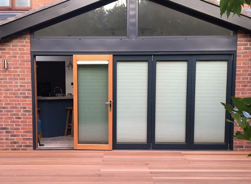Access door open - Ultra 4.2M Grey Bifold Doors