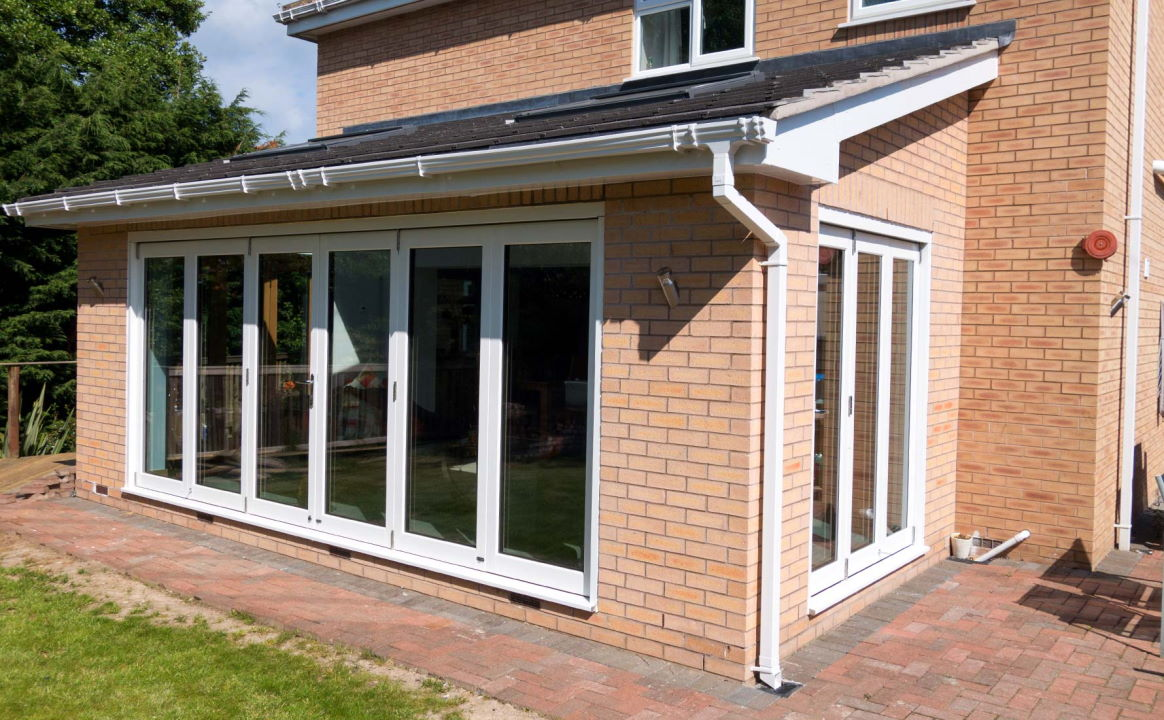 Closed White 16ft Ultra Bi-fold Doors