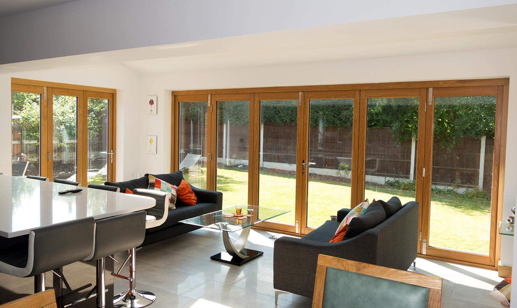 Inside 6ft and 16ft Ultra Bi-fold Doors