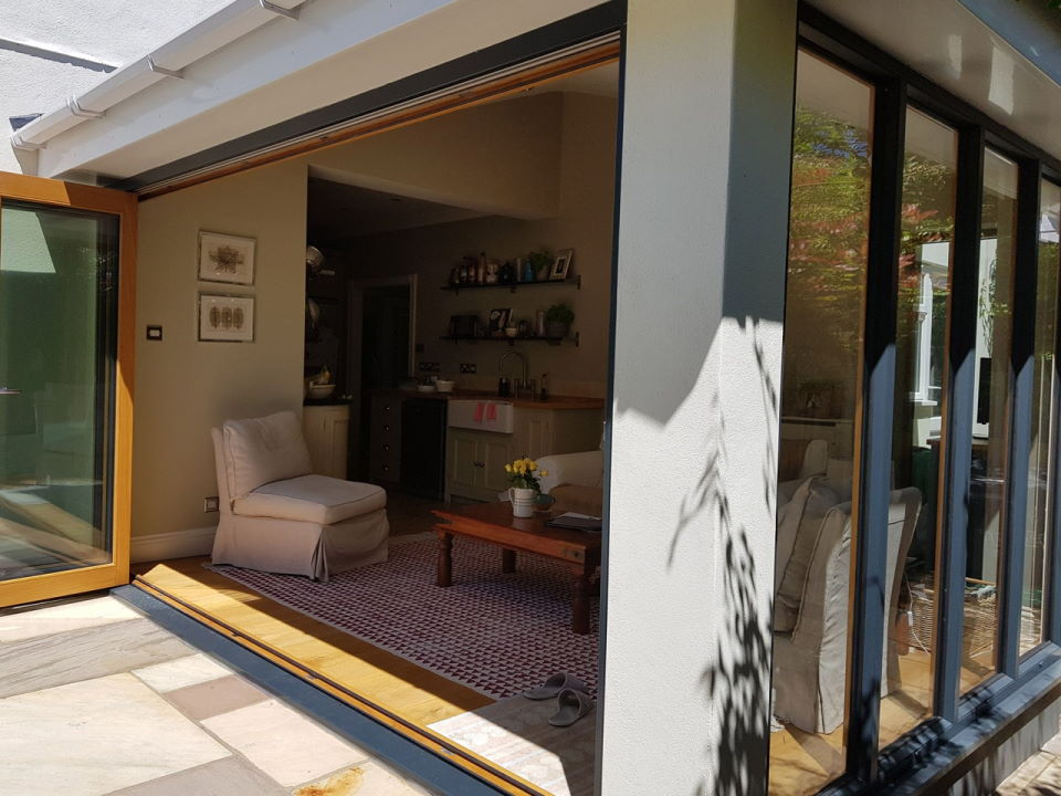Ultra Grey 3.6M Bifold doors and Bespoke Ultra window