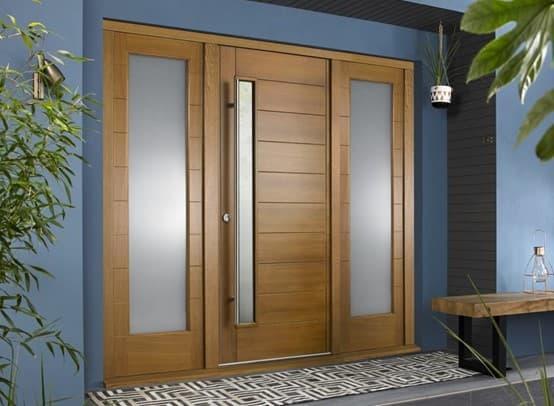 Front door with side panels