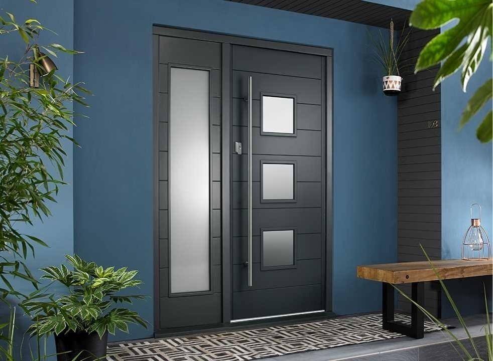 Malmo external grey front door and sidelight