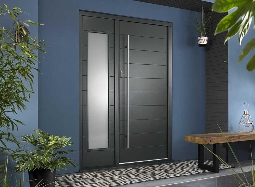 OSLO external grey front door with sidelight