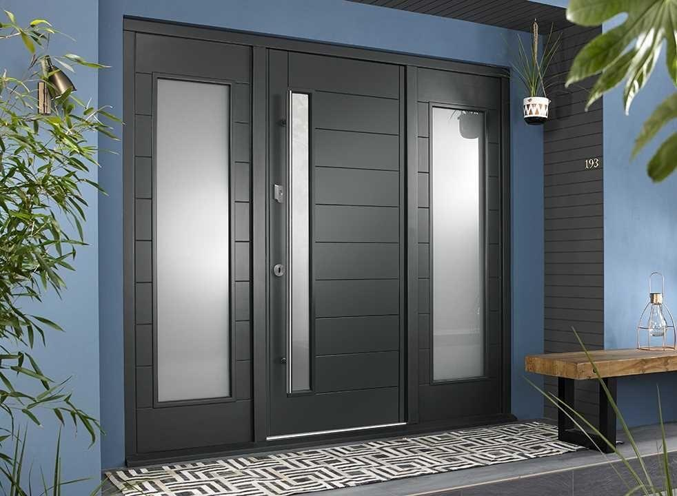 Stockholm external grey front door with sidelights