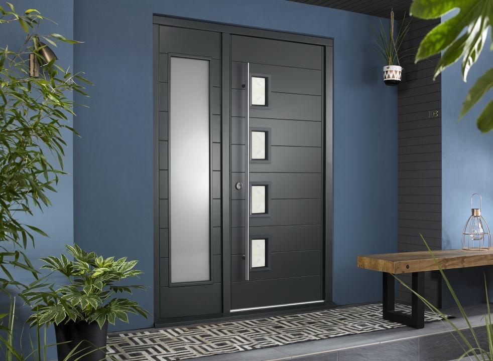 Bergen external grey front door with sidelight