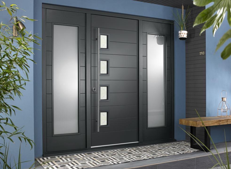 Bergen external grey front door with sidelights