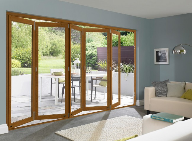 An example from a bifold door leading outside onto a patio