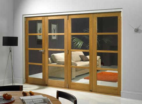 An example of an internal bifold door leading to a couch