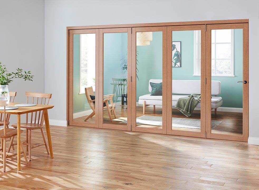 closed wooden bifold door