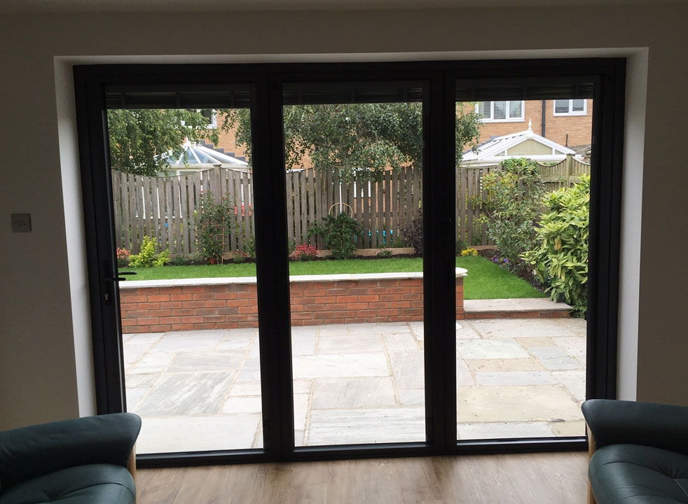 Bespoke inside view of a closed Status Aluminium Bifold doors