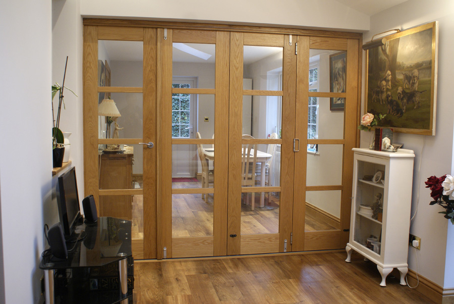 Closed view of an Edge 10ft Folding Room Divider Door