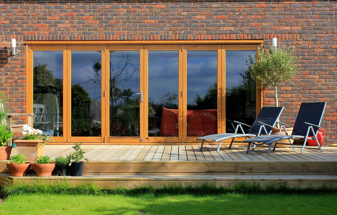 Outside, closed Elite 16ft Bifolding Doors