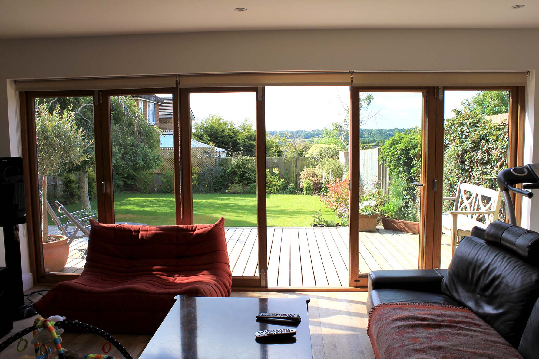 Inside, closed view of an Elite 16ft Bifolding Doors