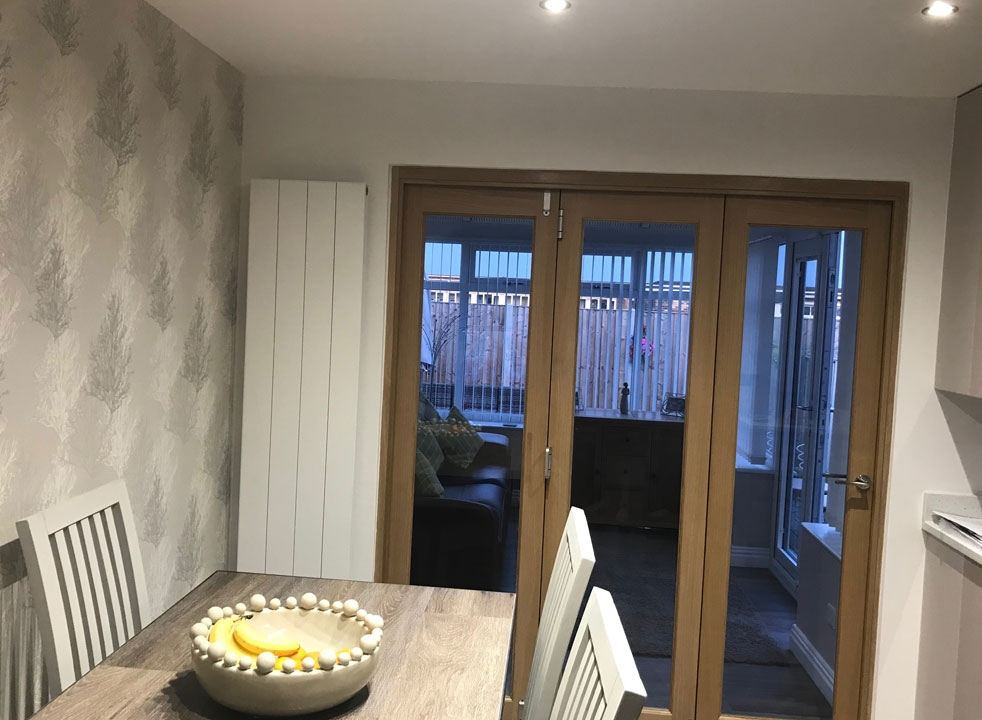 Closed view from dining room - Finesse 1.8M Internal Bifold doors