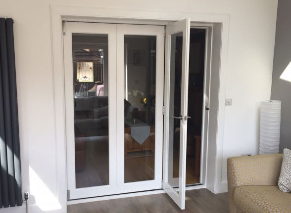 Access door open on a Finesse White 1.8M Internal bifold doors