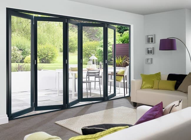 external grey bifold door