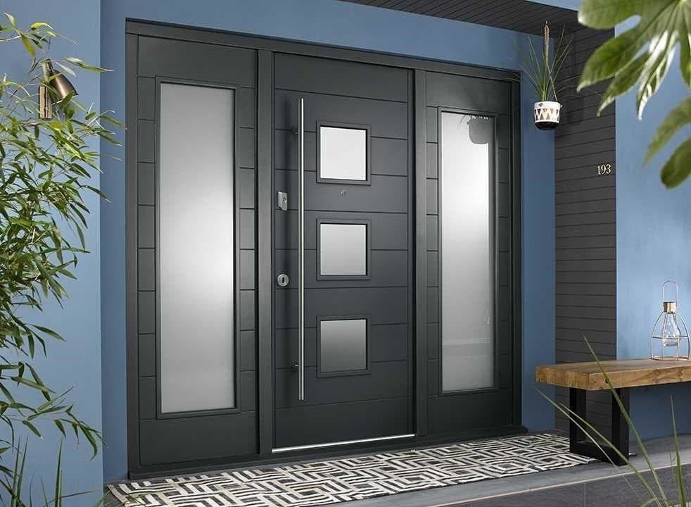 grey front door with windows