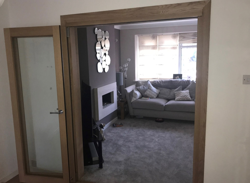 Open Inspire internal bifold doors into the lounge