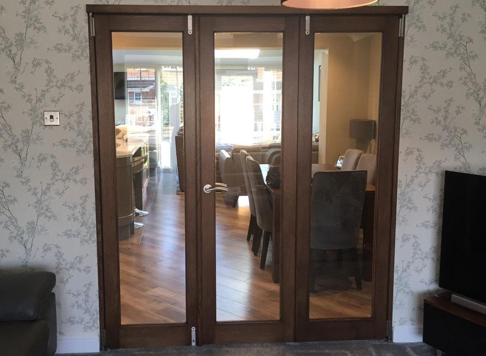 Dark stained Closed Inspire Internal Bifold doors