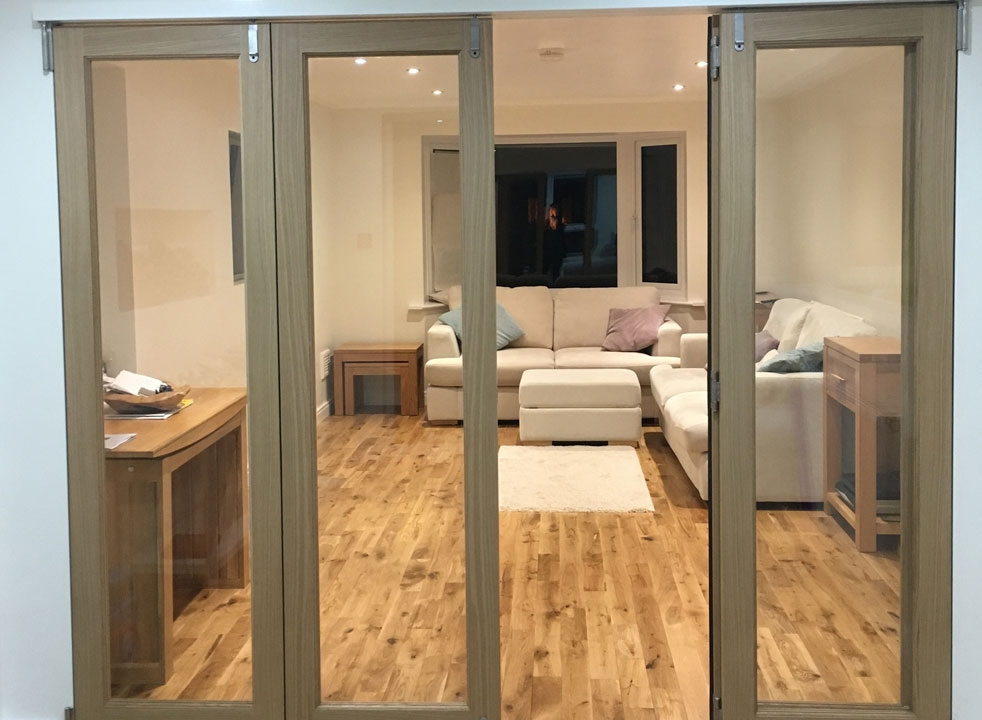 Partially open 2.4M Inspire internal bifold doors