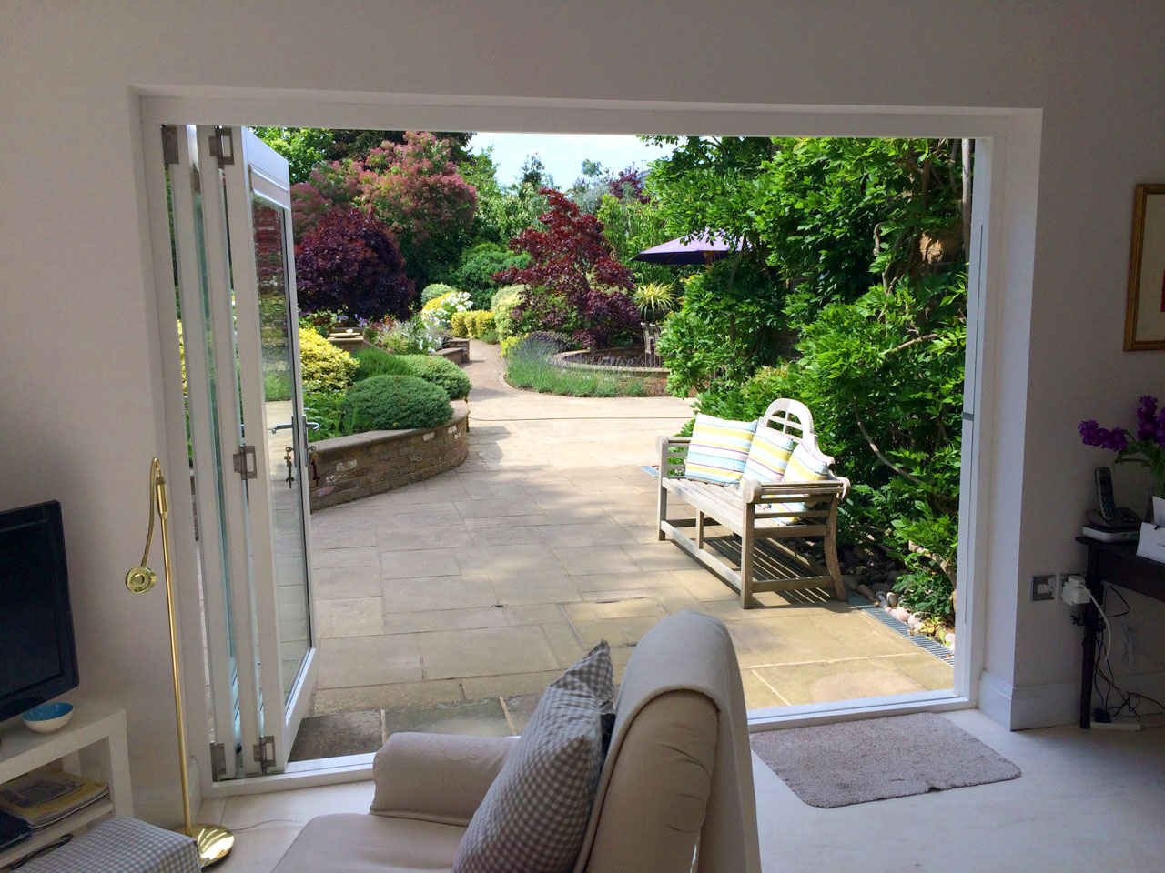 Looking out of the Master 9ft Bifold Doors into the garden