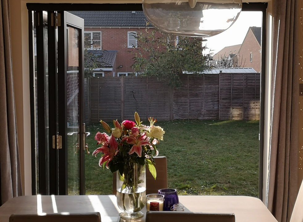 Open inside view - Master grey External Bifold doors