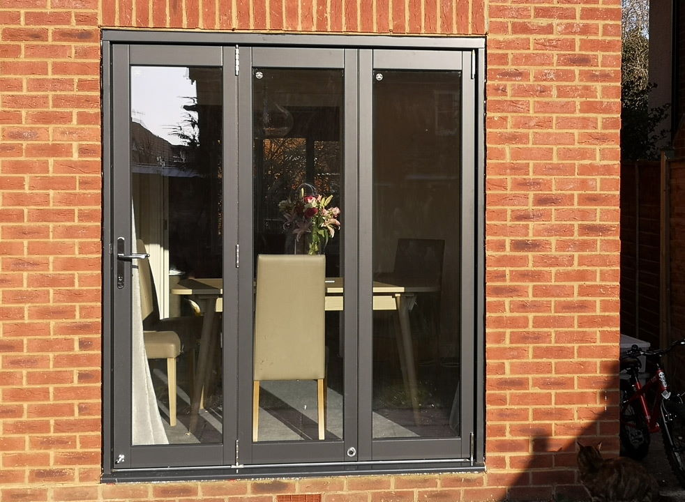 Closed Master grey External Bifold doors