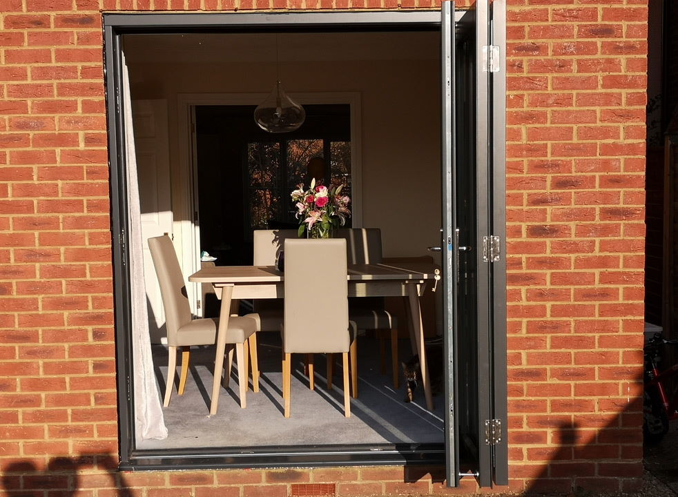 Open Master grey External Bifold doors