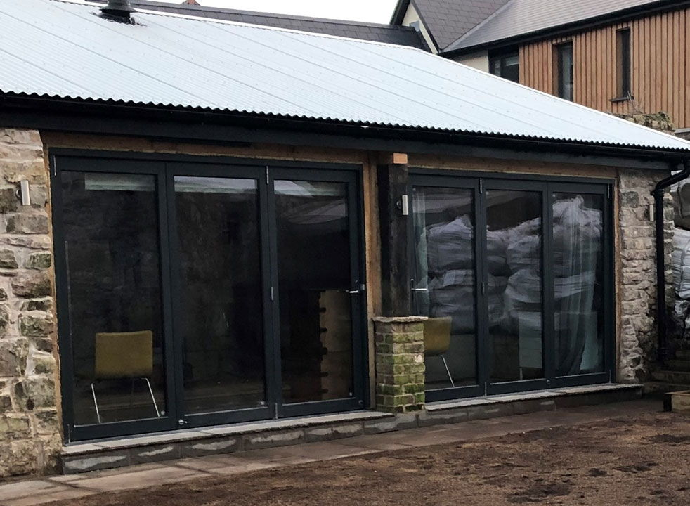 Outside view of 2 Sets of Master 2.7M Bifold doors