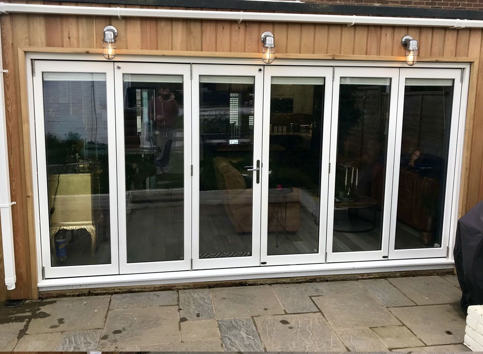 Master White 4.2M Closed timber bifold doors