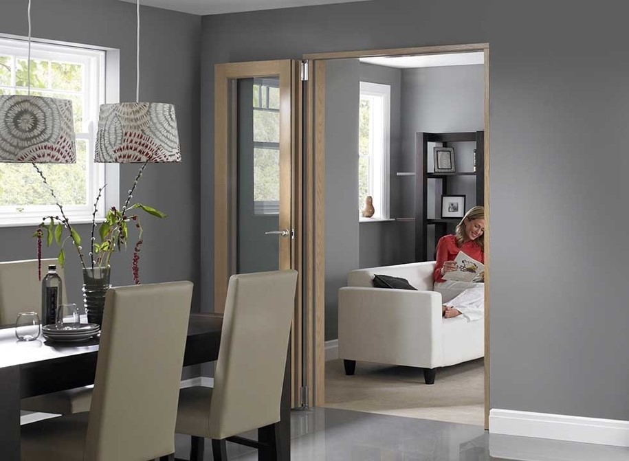 open wooden bifold door