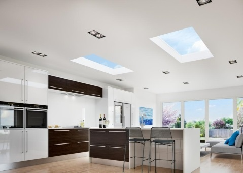 Inside view of a pair of flat roof lights