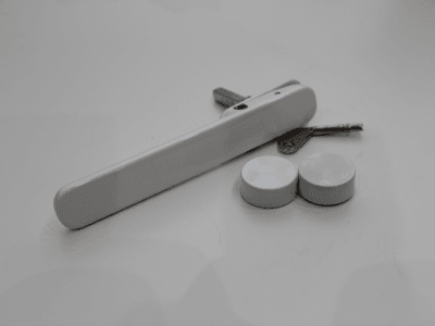 White handles with black hardware