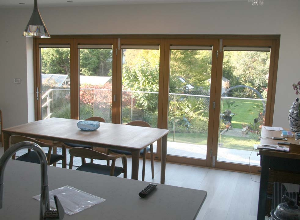 Ultra Alu-Clad 4.2M External bifold doors Closed inside view