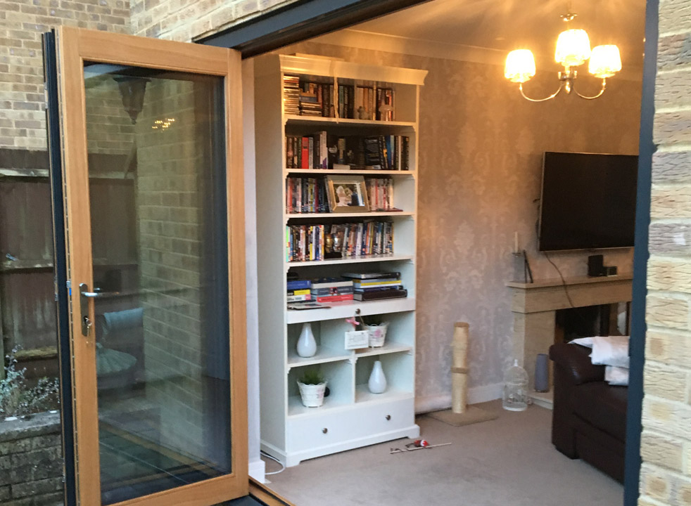 Outside open 2.4M Grey External Bifold Door set
