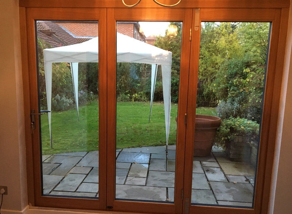 Inside closed 2.4M Grey External Bifold Door set