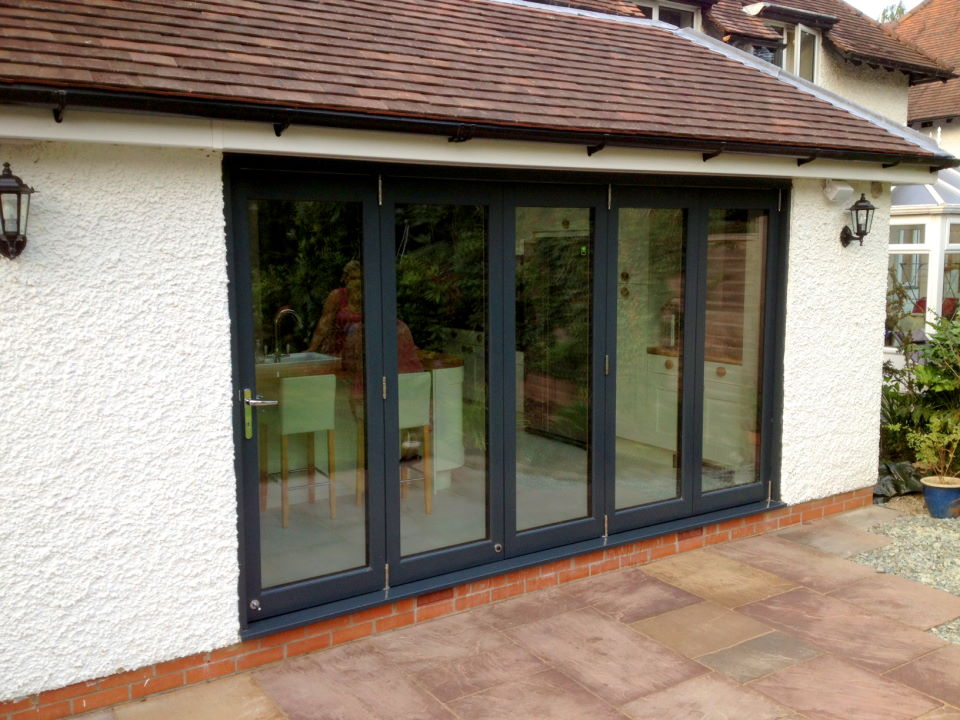 Outside, closed Aluminium clad Ultra 12ft Bifold Doors