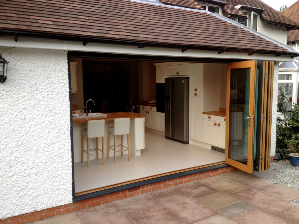 Outside, open view of an Ultra 12ft Bifold Doors